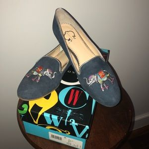 C Wonder Blue Suede Smoking Slippers Size 6